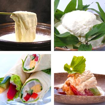 宇豆基野の湯波・豆富料理一例