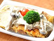 豆富とチキンのステーキ きのこソース